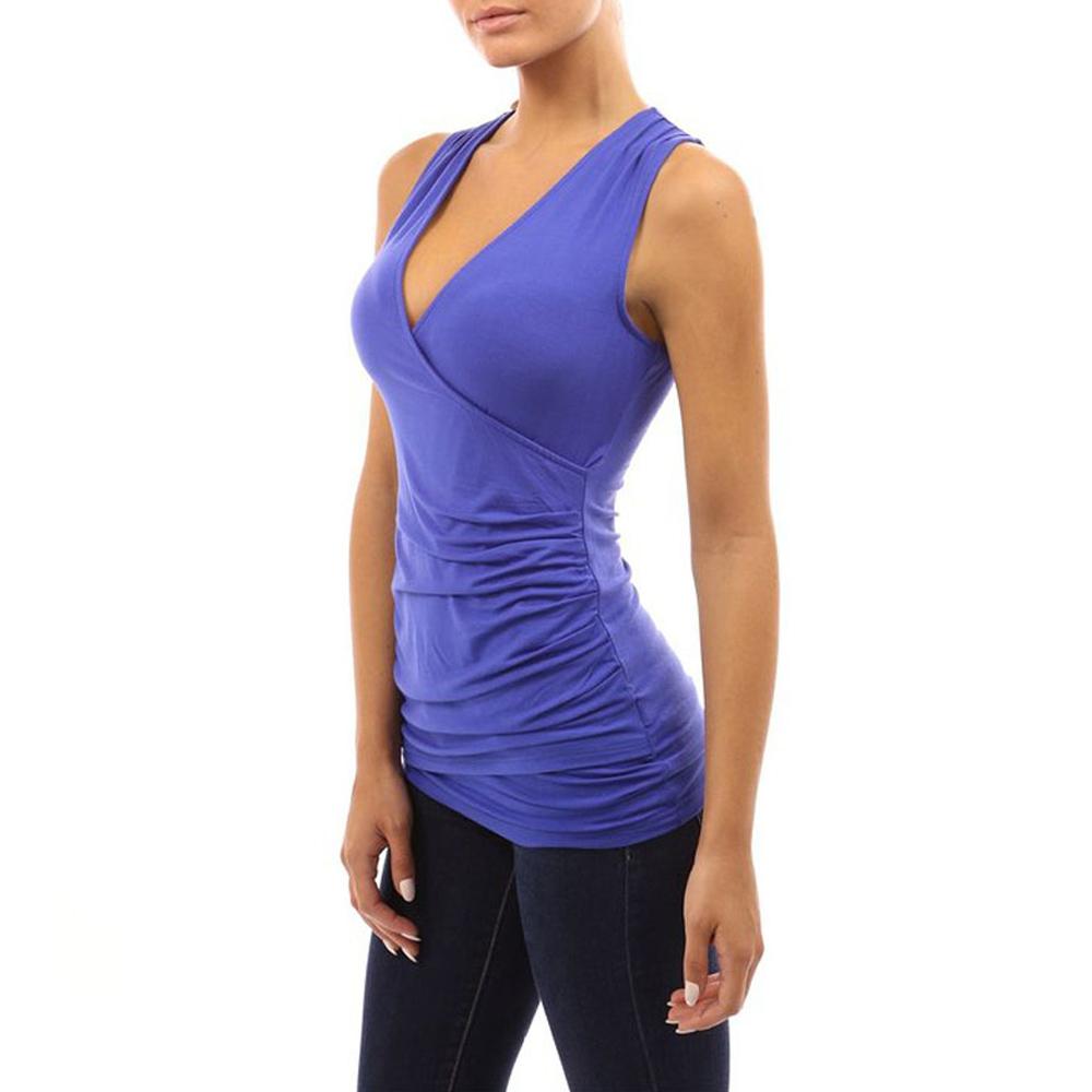 Womens deep v neck sleeveless fitted blouse shirt top for Sleeveless dress shirt womens