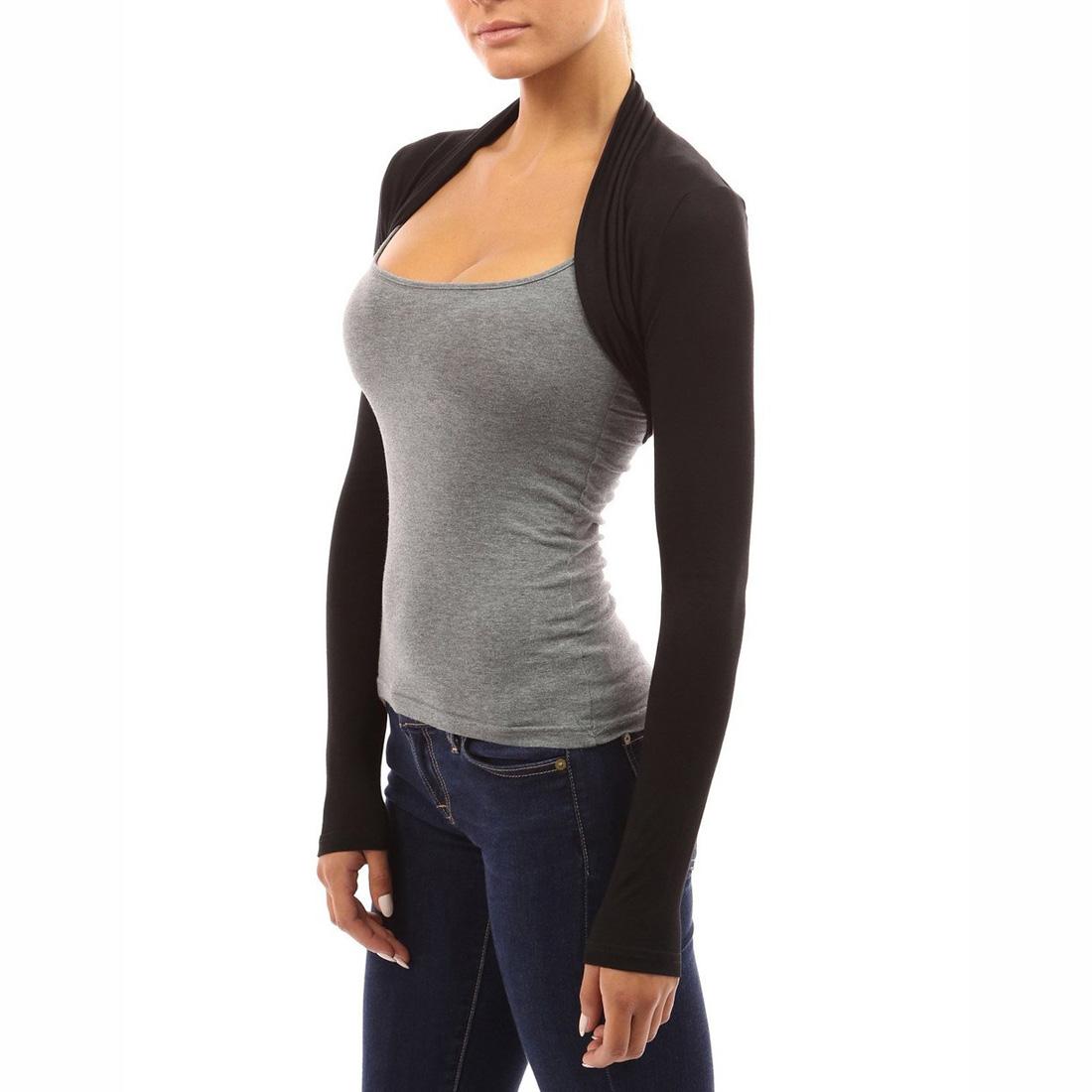 Womens Fashion Long Sleeve Boleros Shrugs Cropped Cardigan Tops ...