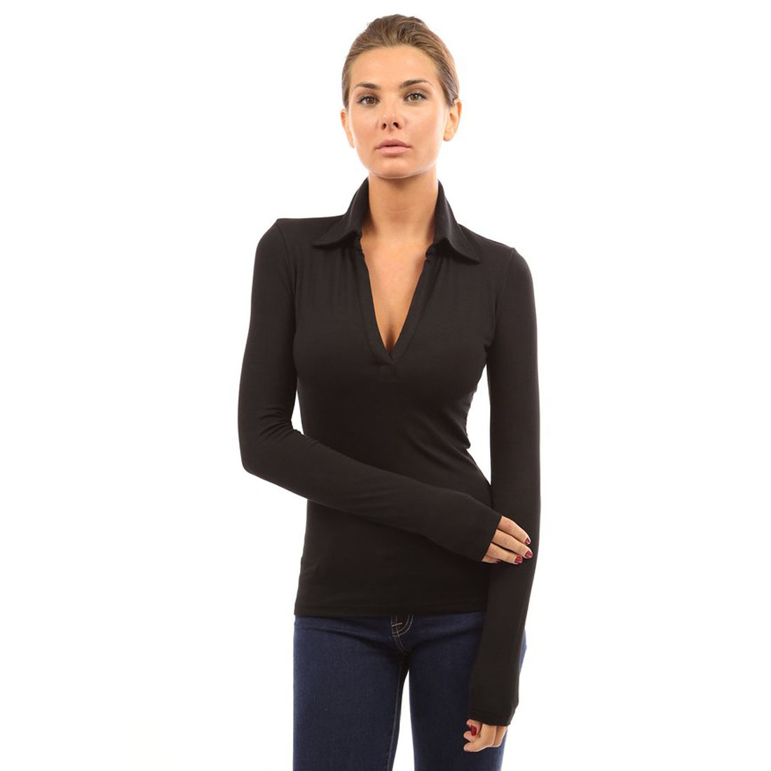 Womens v neck polo shirt long sleeve slim fit casual for Women s turquoise long sleeve shirt