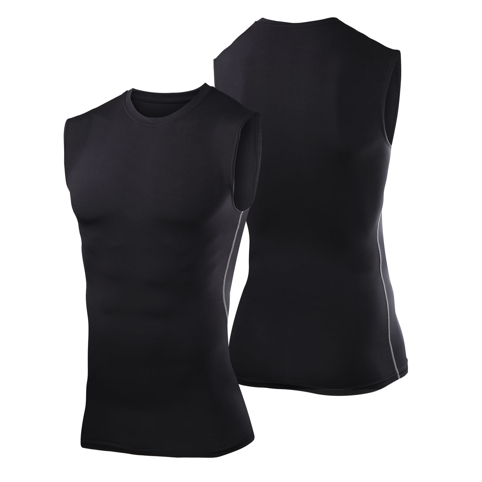 men black sleeveless compression armour baselayers tight top gym shirts sports