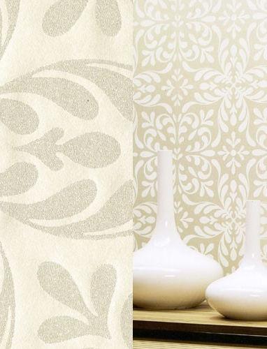 Eijffinger gracia floral classic glass beads trail flock wallpaper cream 301290 ebay - Cream flock wallpaper ...