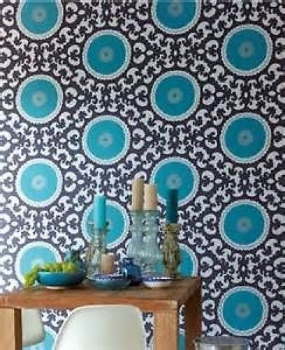eijffinger suzani circle motifs g om triques papier peint fa on chic bleu. Black Bedroom Furniture Sets. Home Design Ideas