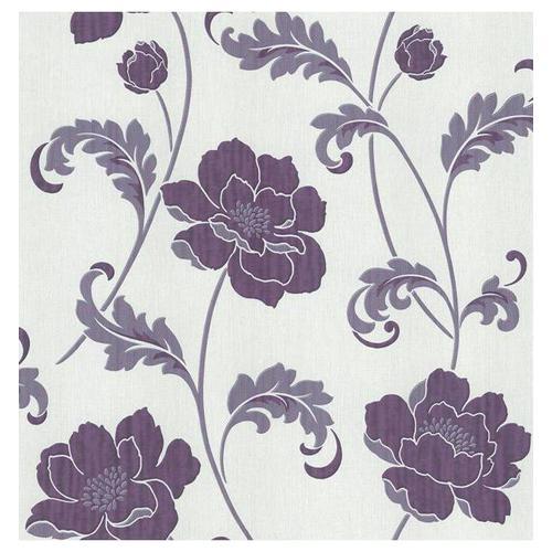 Fd20333 classics blumenmuster laubverzierung blume for Tapete lila silber