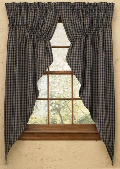 plaid gathered swag prairie curtain set 36 or 63 long wine black navy mustard ebay. Black Bedroom Furniture Sets. Home Design Ideas
