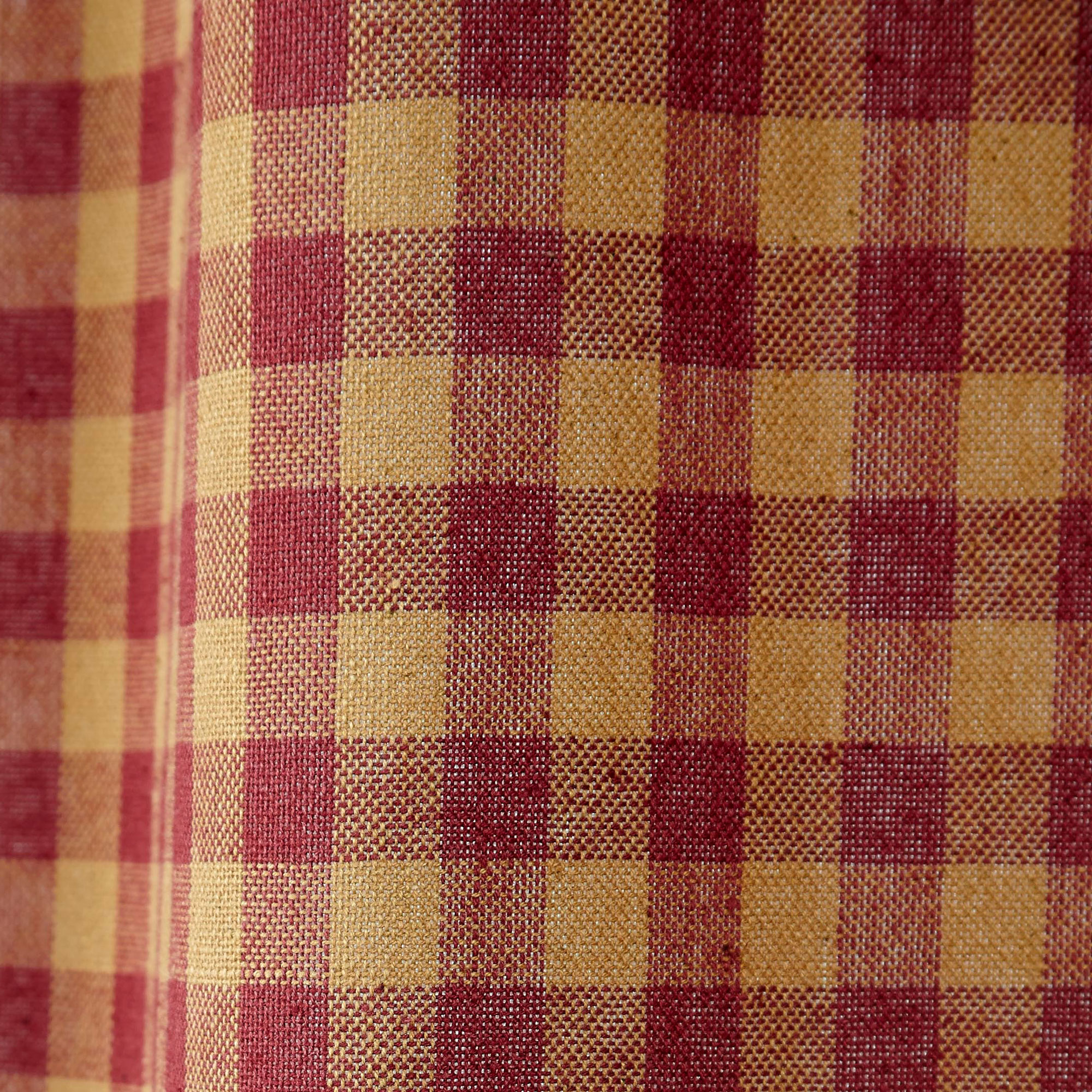 Burgundy check curtains