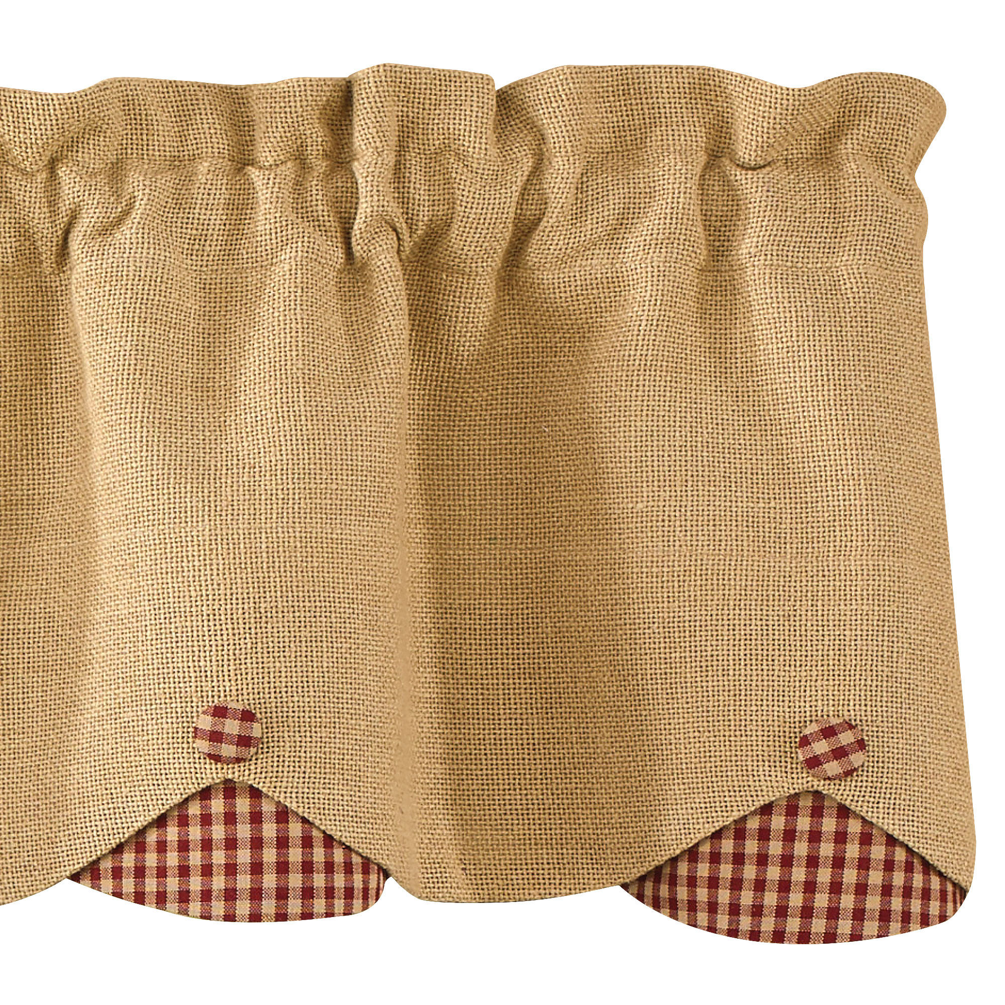Burlap and check scalloped curtain valance by park designs for Burlap designs