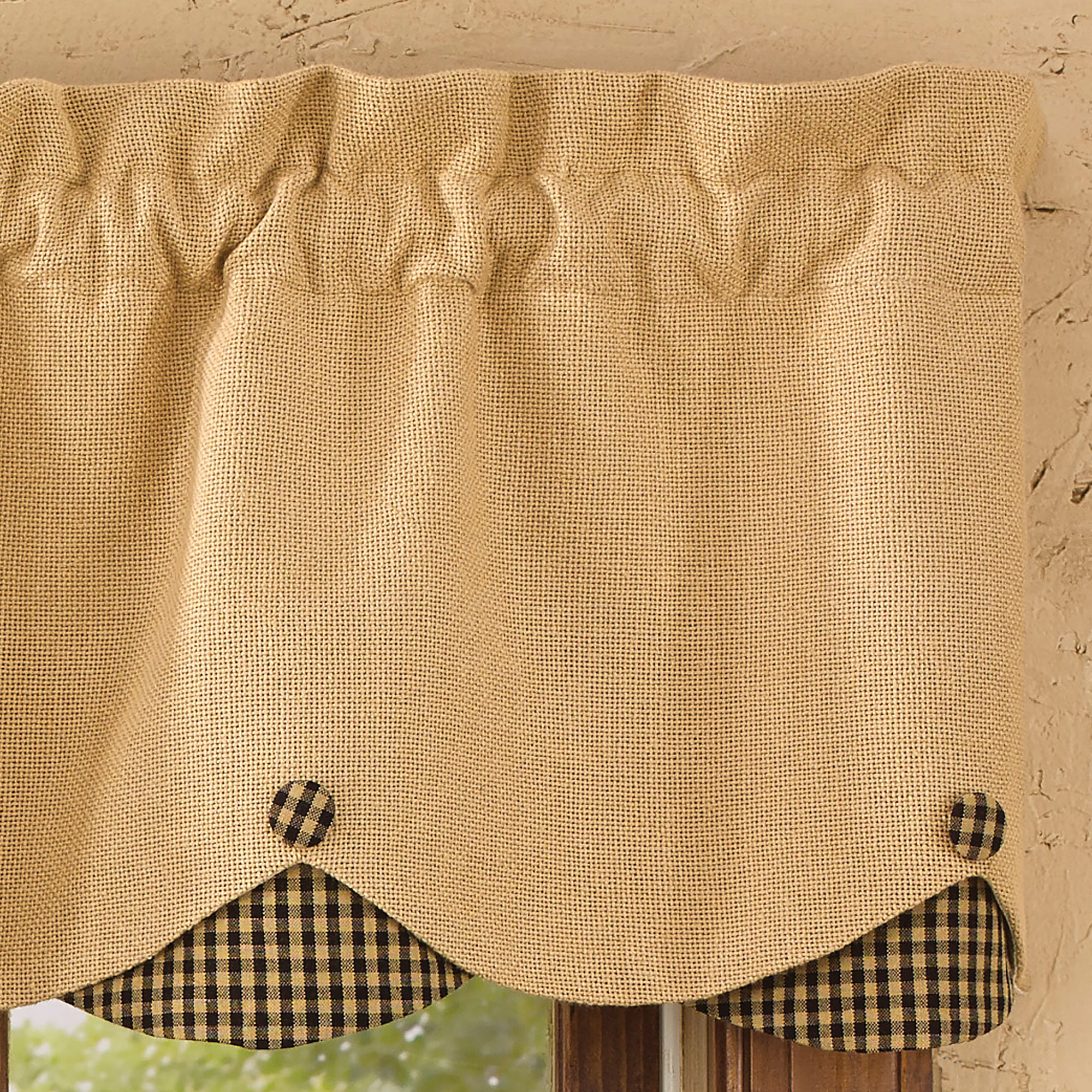 46 Best Images About Window Valance Patterns On Pinterest: Burlap And Check Scalloped Curtain Valance By Park Designs
