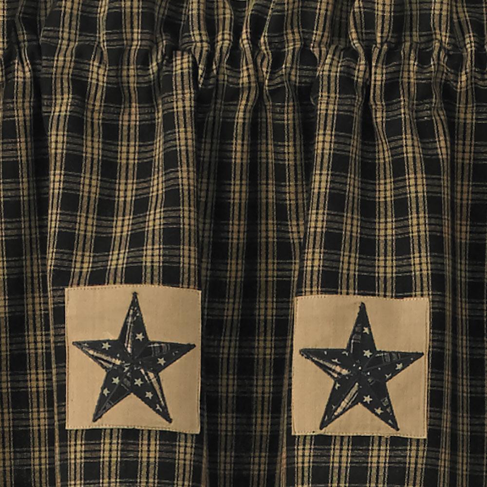 Sturbridge Star Patch Gathered Swags Prairie Curtains Park