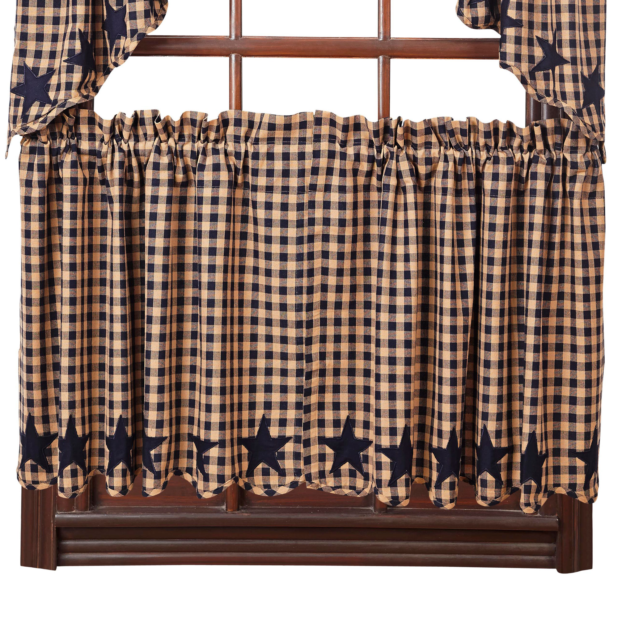 Star And Check Scalloped Country Curtain Tiers Navy Black Or Burgundy 24 Or 36