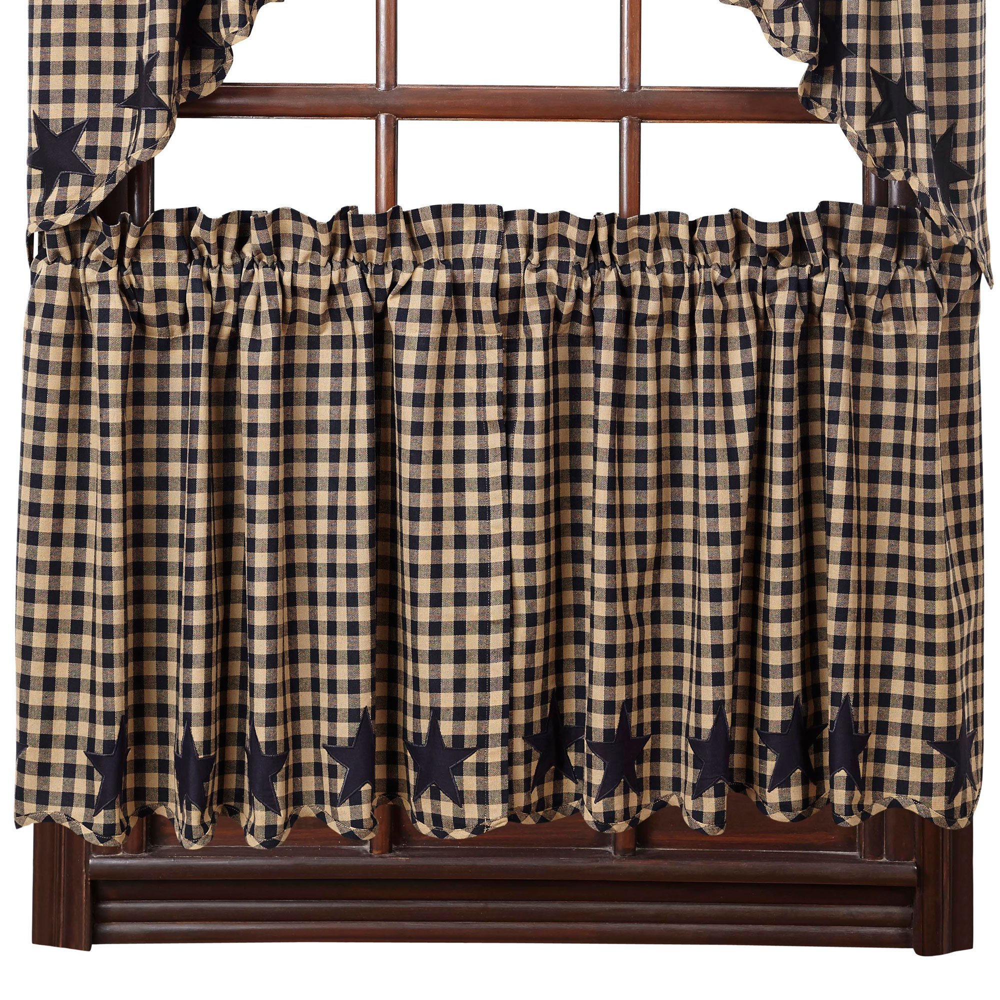 Star And Check Scalloped Country Curtain Tiers Navy Black