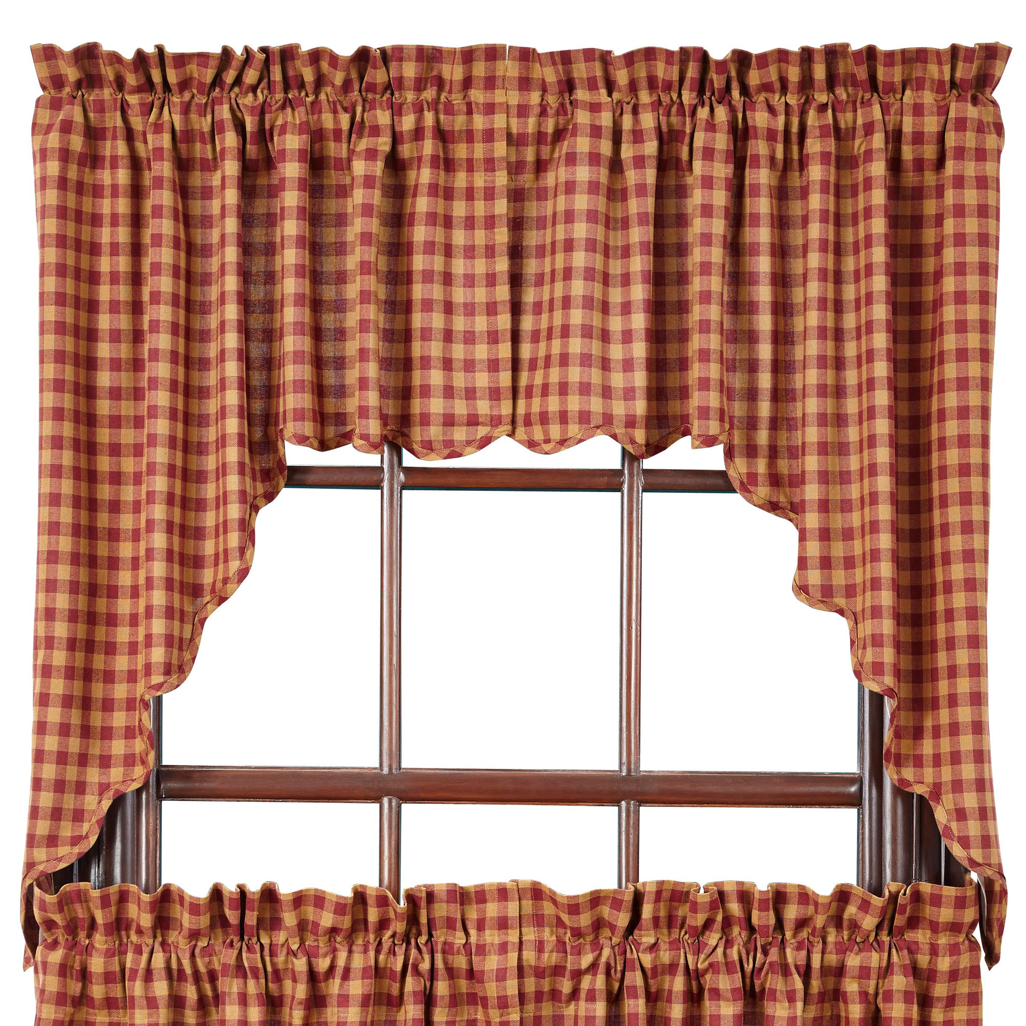 Check Scalloped Country Curtain Swags By Vhc Brands Navy