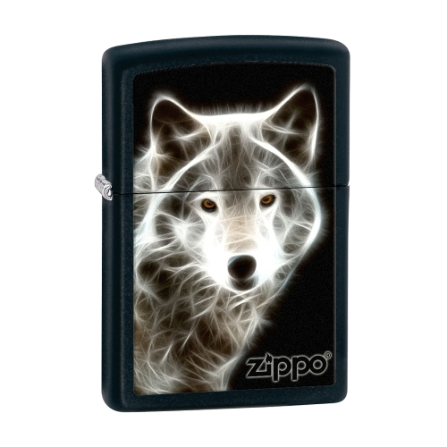 Zippo Lighter WHITE WOLF Black Matte