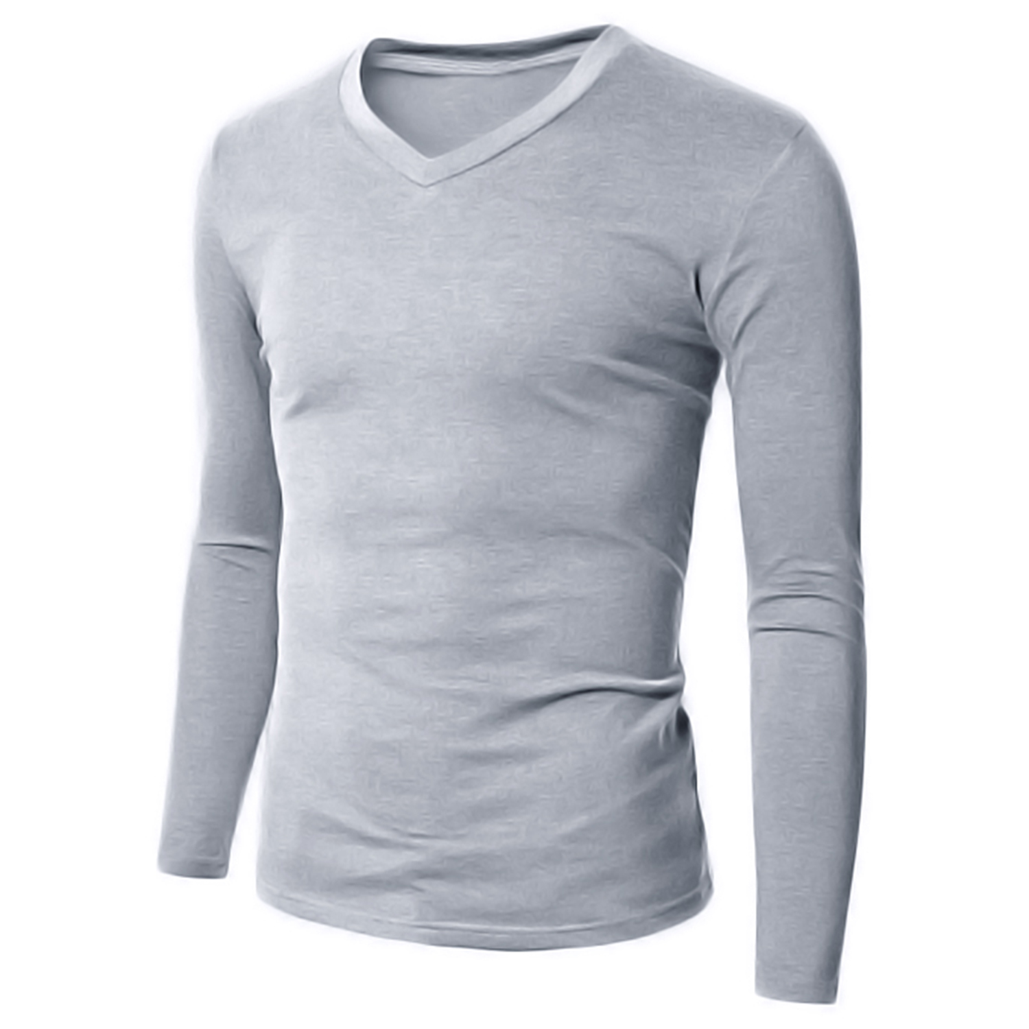 Mens Basics Tops V-Neck Casual Slim Fitted T-shirt Long Sleeve Stretch Blouses