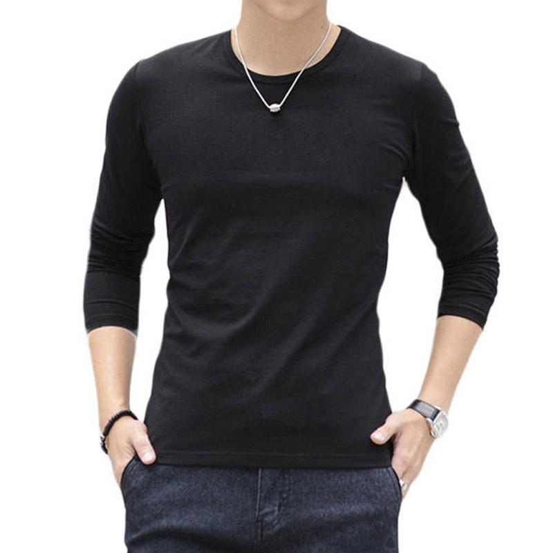 100% Cotton Mens Long Sleeve V Neck Plain Shirt T-shirt Casual ...