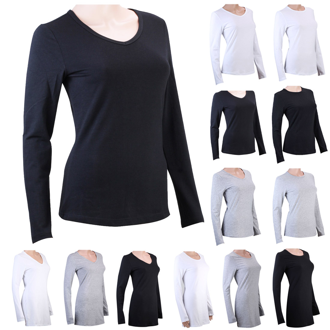 100 cotton womens ladies long sleeve v neck plain stretch for Misses long sleeve tee shirts