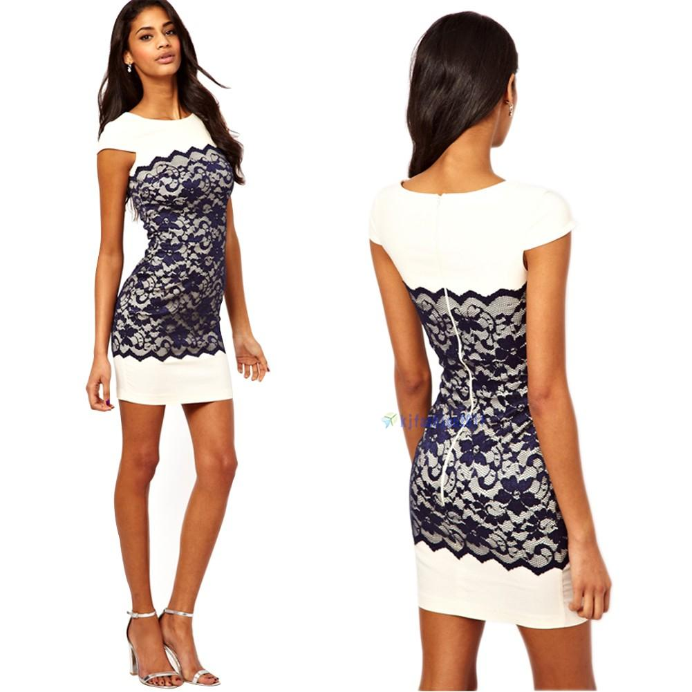 Womens Sexy Short Sleeve Back Zipper Lace Contrast Bodycon Dress Size S M L XL