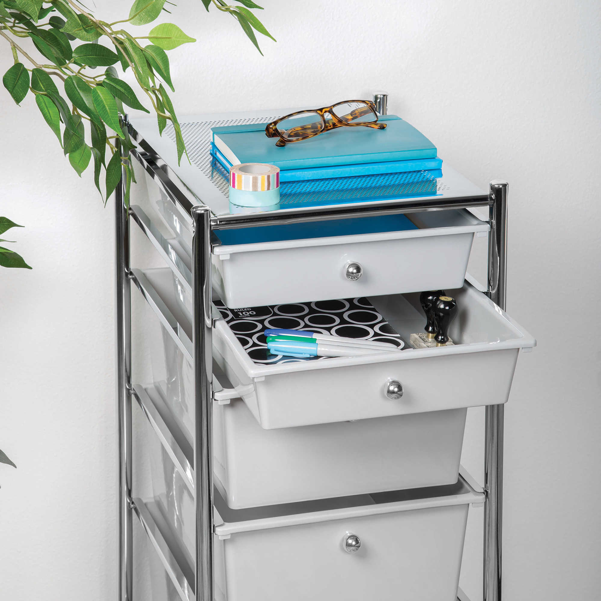HomeCrate 6 Drawer Rolling Storage Cart Drawers Chrome