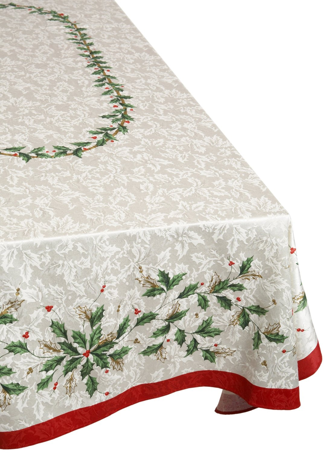 Lenox christmas golden holly tablecloth for Tablecloth 52 x 120