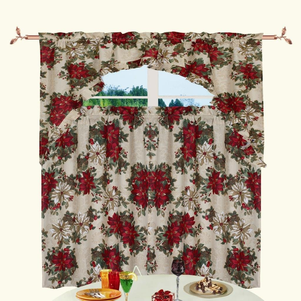 "Kitchen Christmas Curtains Amazon Com: Christmas Poinsettia Design 3pc Kitchen Curtain Set (36*60"" Valance+2pcs 30*36"")"