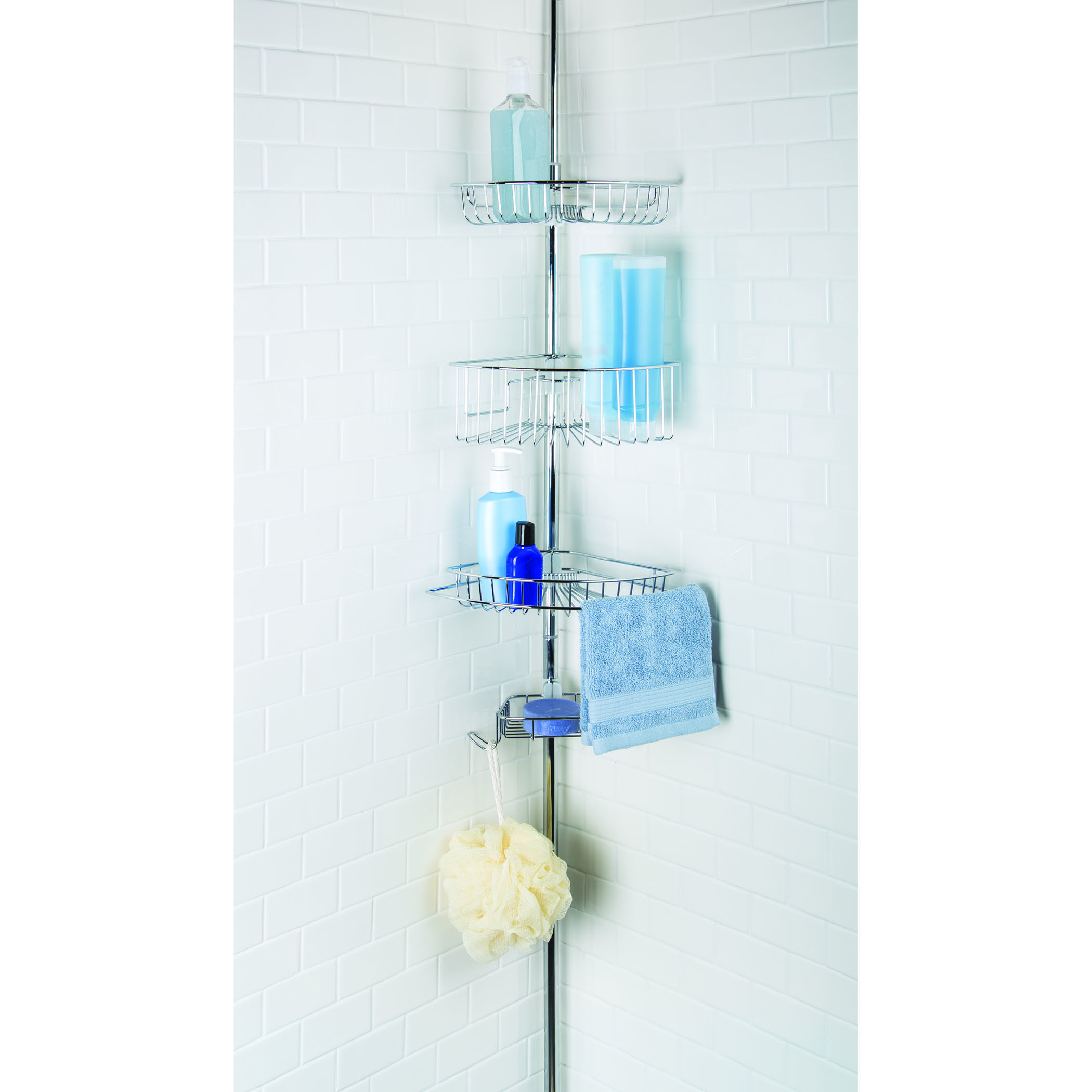 Tension Pole Corner Shower Caddy homecrate three tier corner tension pole shower caddy 9/ft height