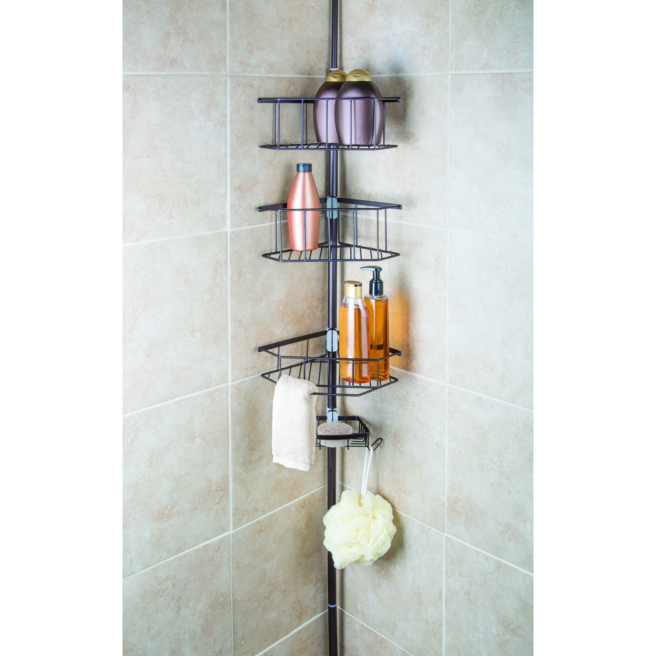 homecrate three tier corner tension pole shower caddy 9 ft height with soap dish ebay. Black Bedroom Furniture Sets. Home Design Ideas