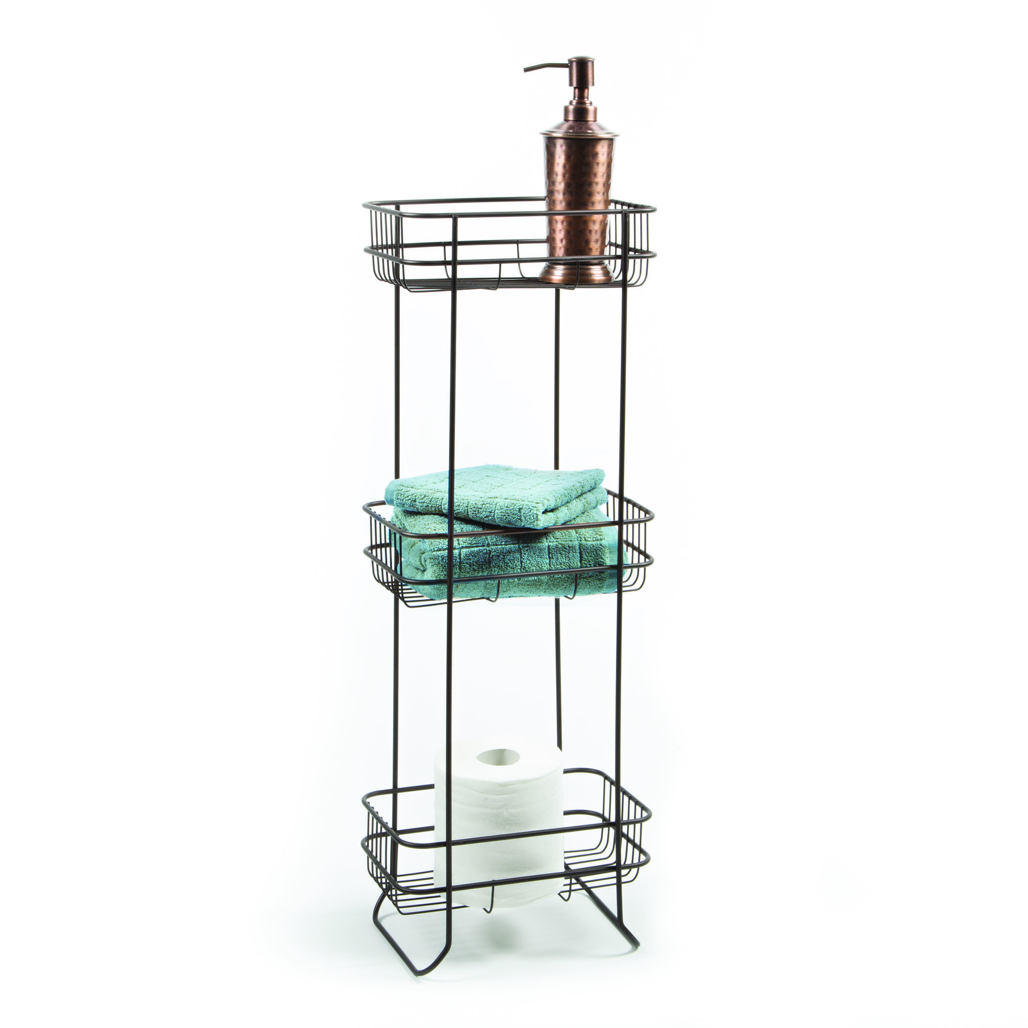 Bathroom accessories stand open wire design with three big for Bathroom accessories stand