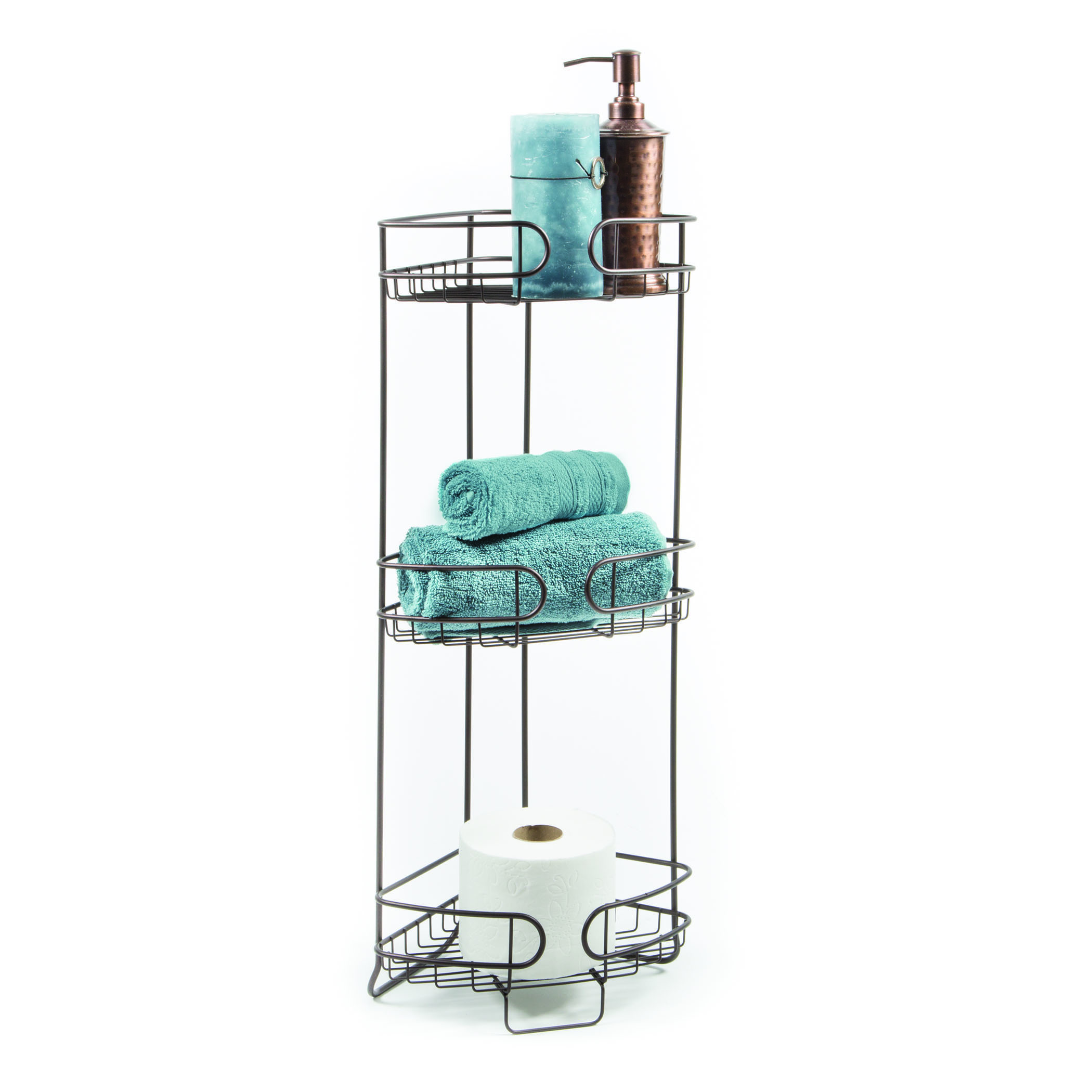 Bathroom accessories stand open wire design with three big for Bathroom accessories height
