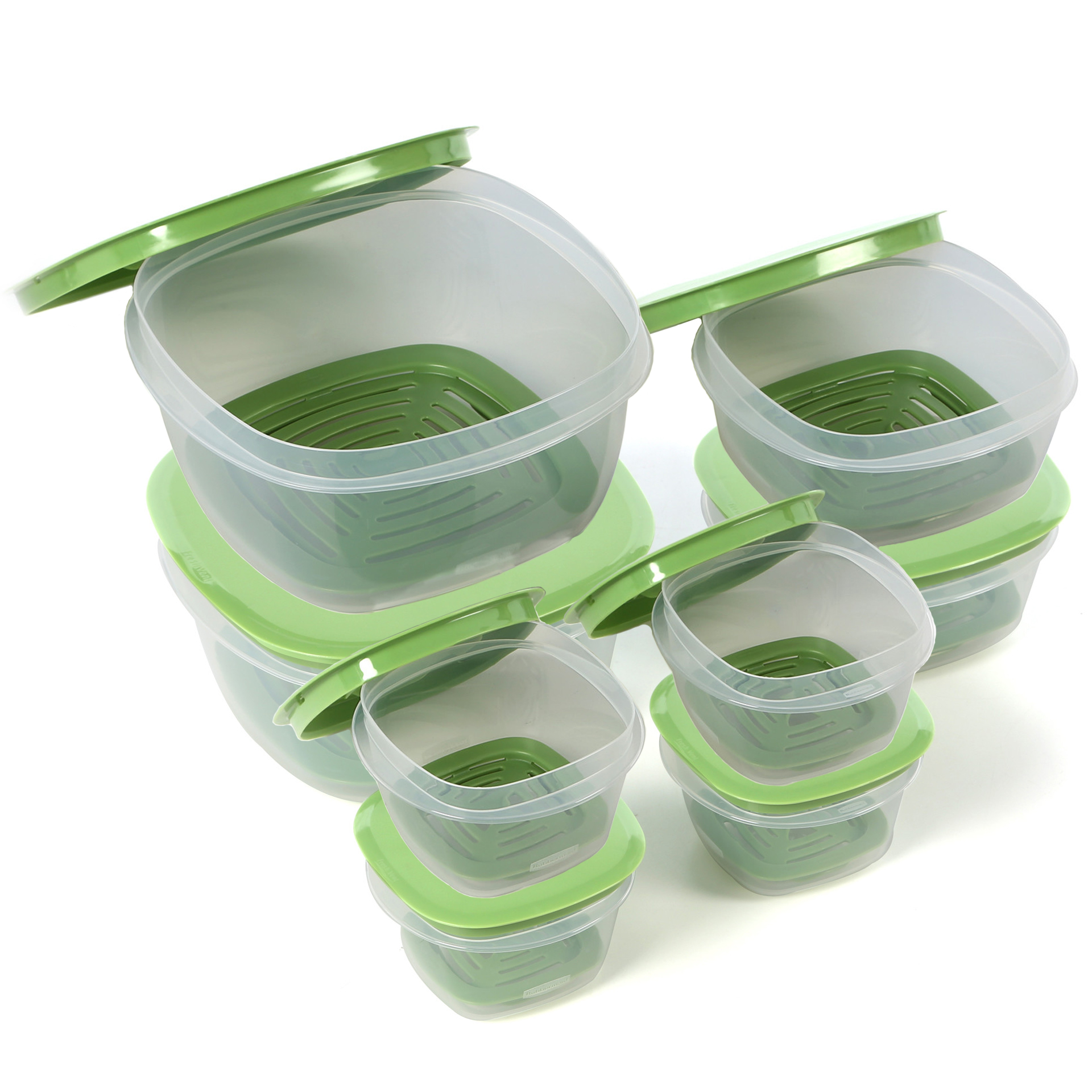 Rubbermaid 7j93 Produce Saver Square Food Storage Containers