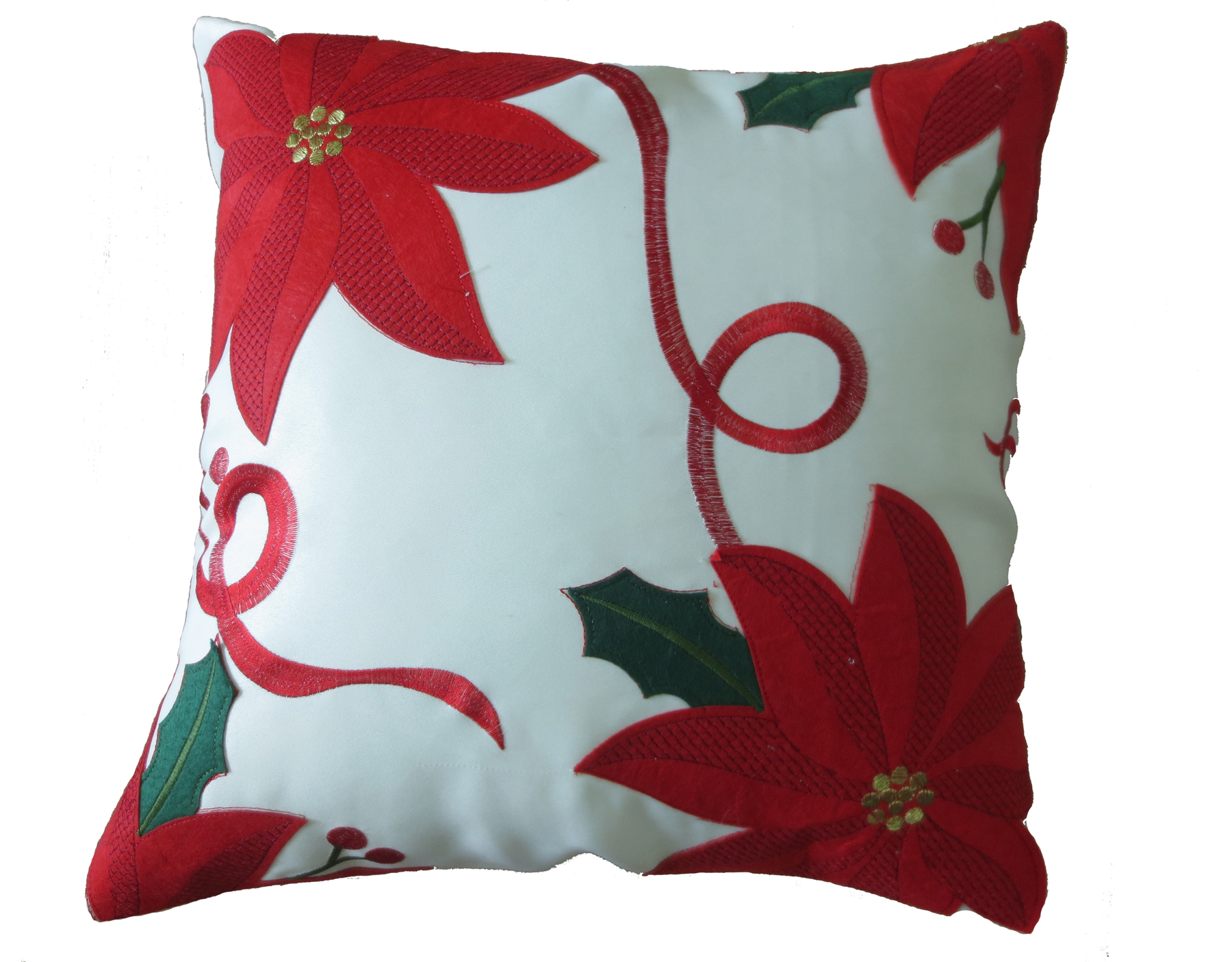 Decorative Christmas Pillows Throws : Decorative Christmas Embroidered Poinsettias Design Throw Pillow