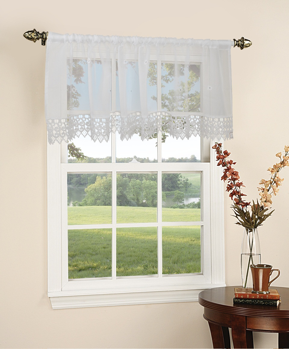 Daisy design sheer 60 x 18 window valance for 18 x 60 window