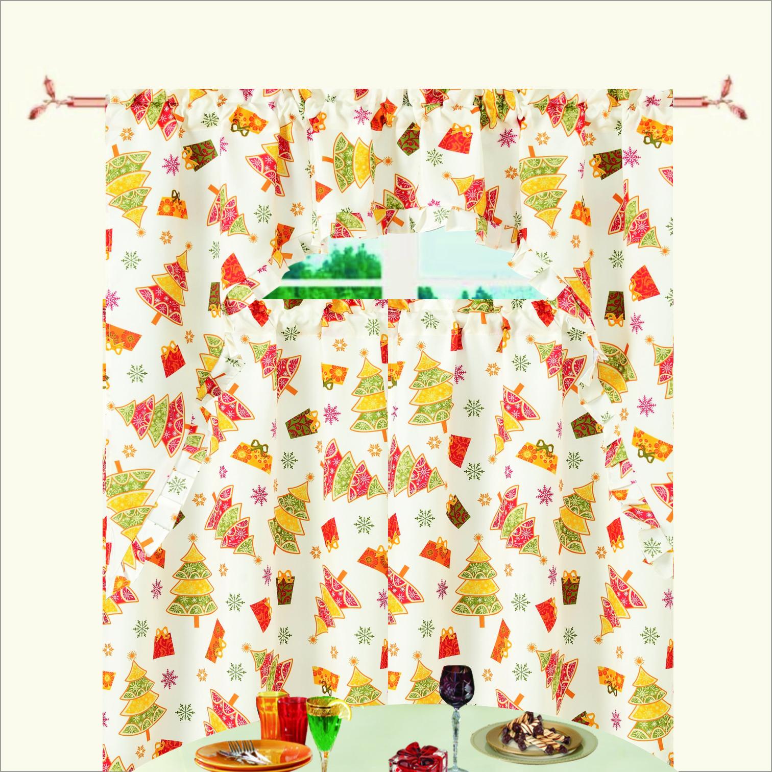 Kitchen Christmas Curtains Amazon Com: Christmas Poinsettia Design 3pc Kitchen Curtain Set (36*60