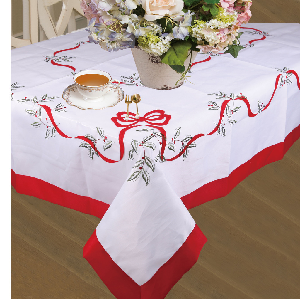 Holiday Christmas Decorative Embroidered Leaves And Red