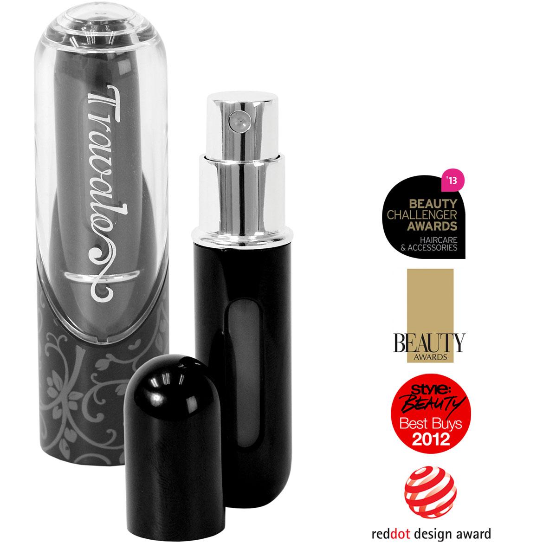 Travalo Refillable Travel Perfume Spray Bottle: Travalo Excel Easy Refillable Perfume Atomizer Spray- Black