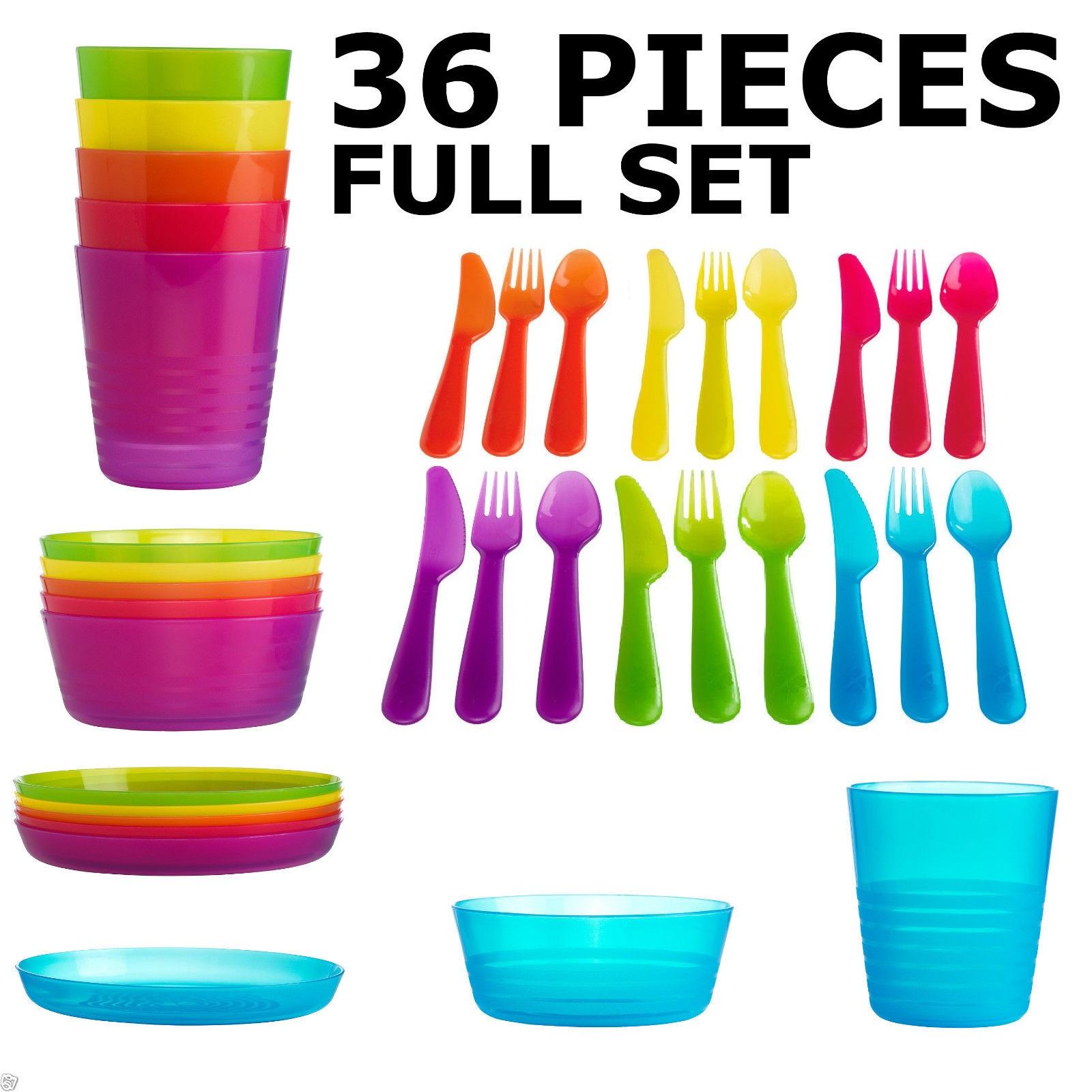 ikea kalas children 39 s plastic 36 piece cutlery set kids bowls plates cups ebay. Black Bedroom Furniture Sets. Home Design Ideas