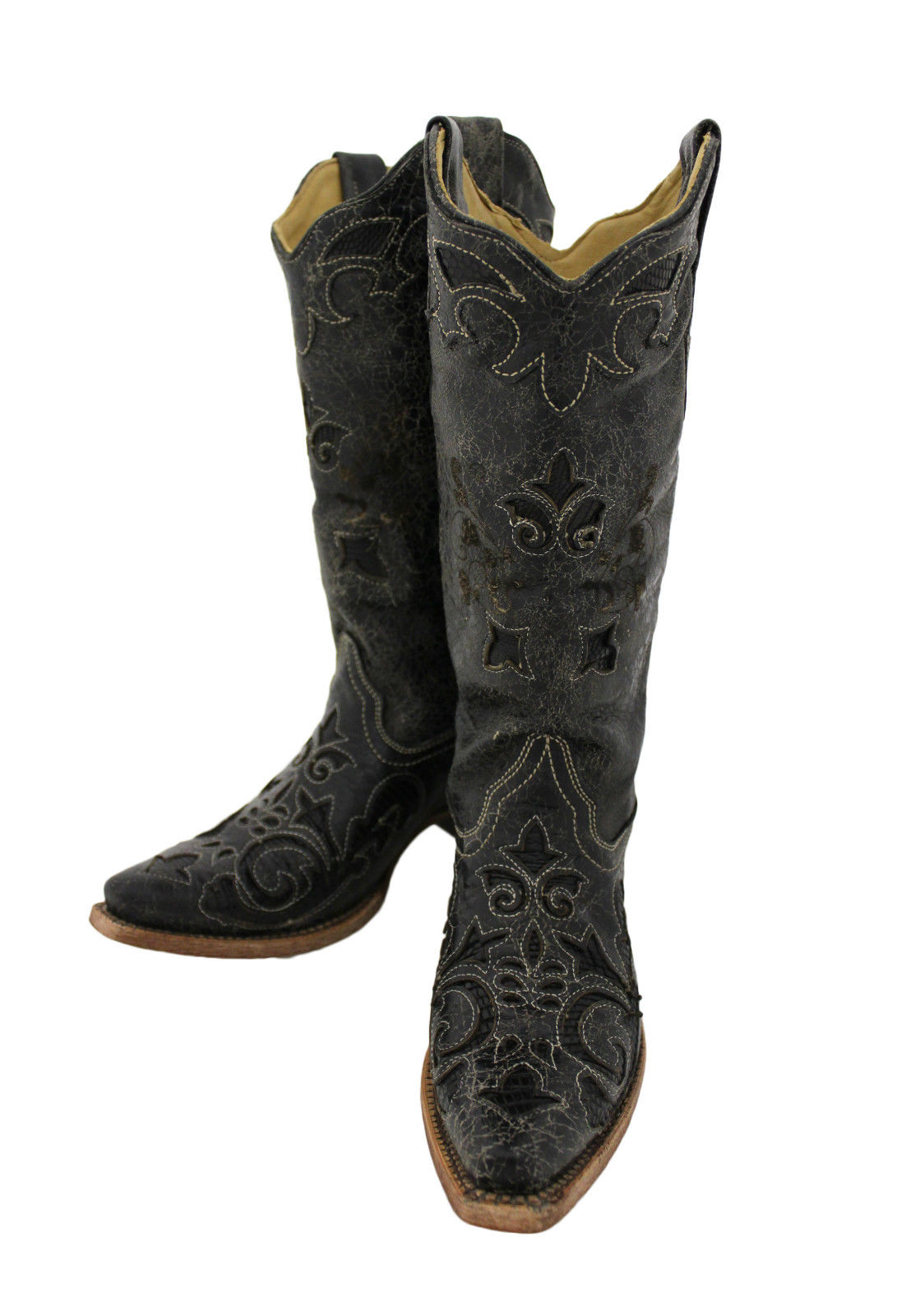 s corral black vintage lizard inlay snip toe boots