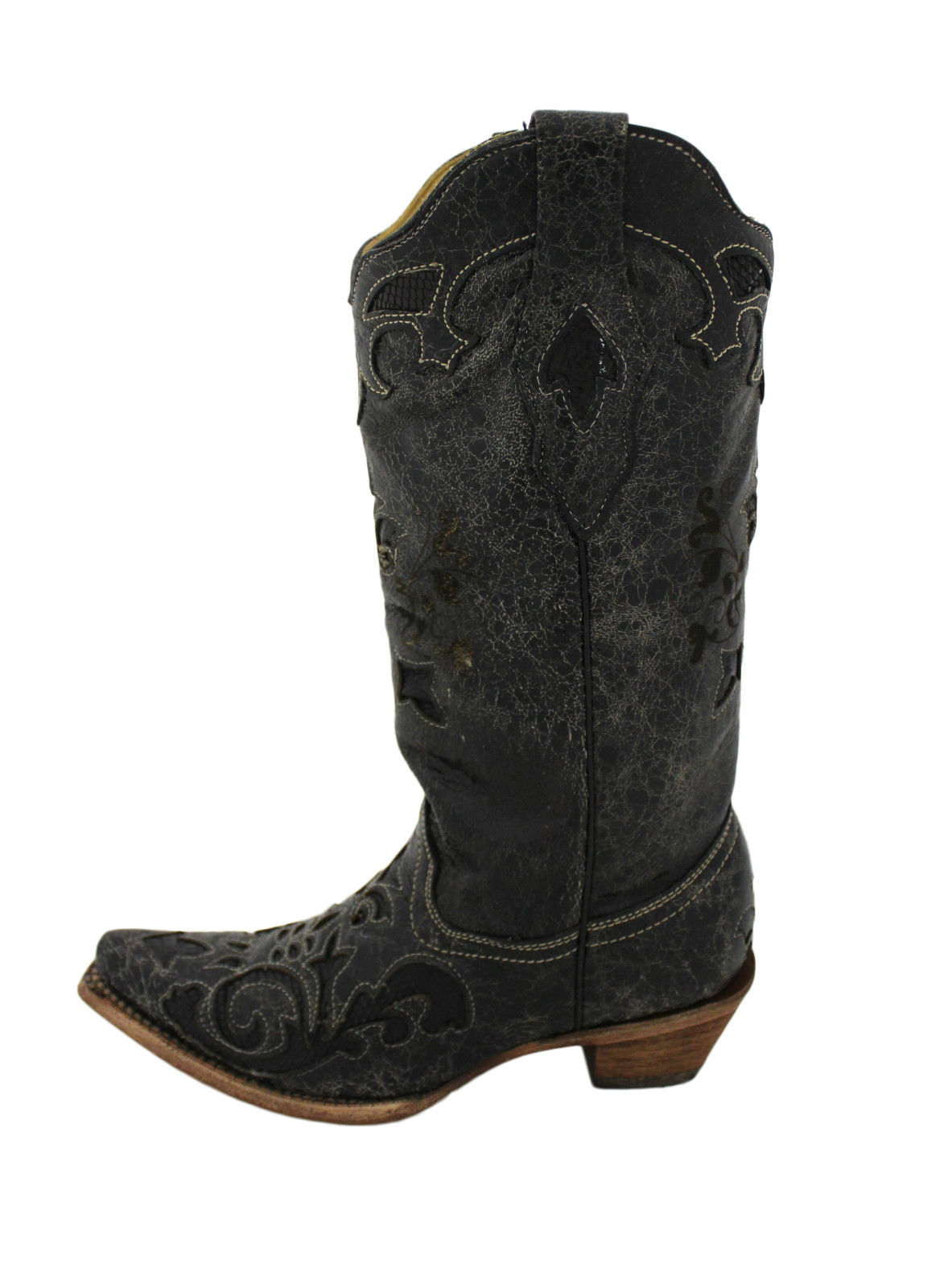 Elegant Womenu0026#39;s Corral Cross And Wing Sequin Inlay Square Toe Western Boots A1197