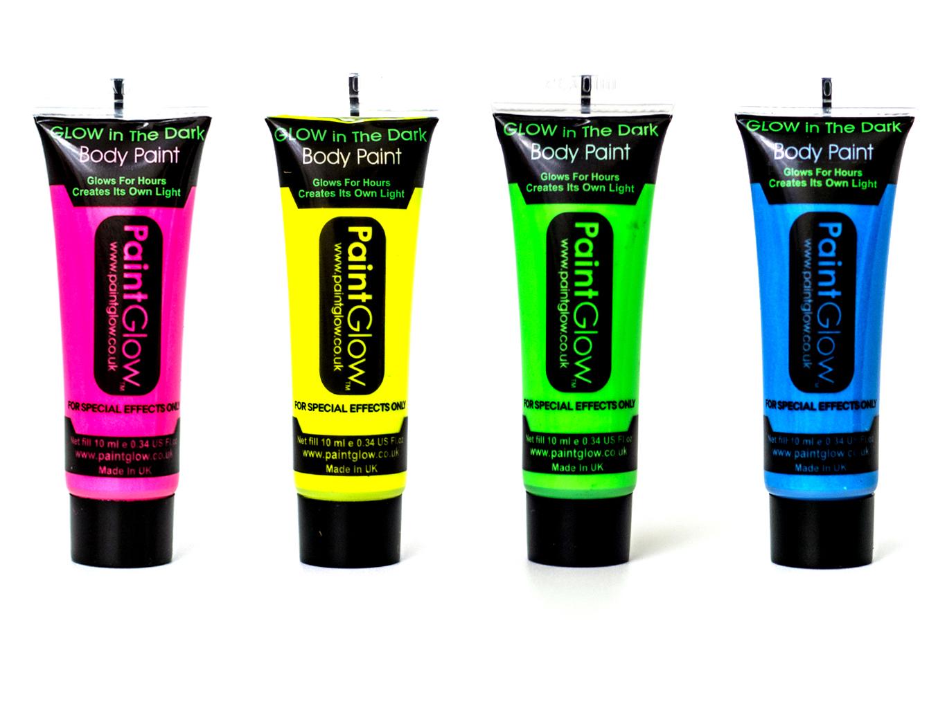 set of 4 paintglow neon leuchten im dunklen gesicht k rper malen rave. Black Bedroom Furniture Sets. Home Design Ideas