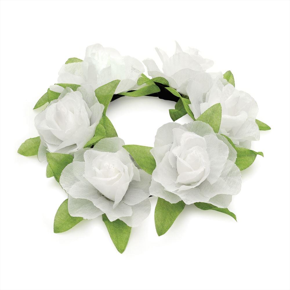 Flower Rose Bun Garland Floral Head Hair Band Scrunchie Elastic Bridal