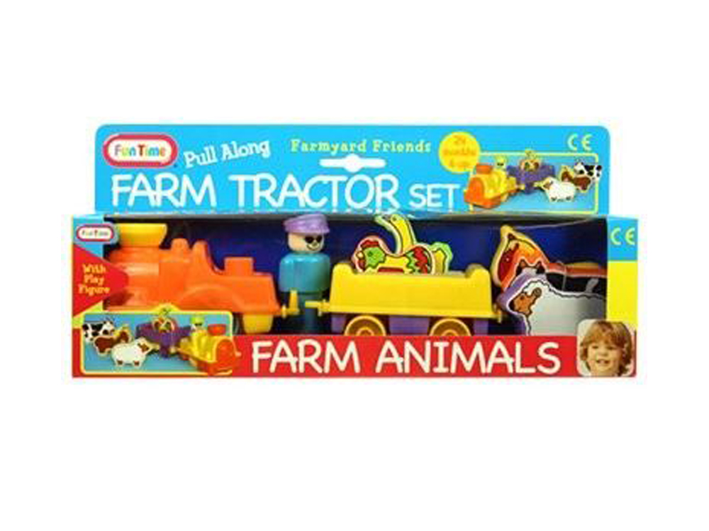 Farm Toddler Toys Age Two : Funtime pull along farm tractor and animal set baby toy