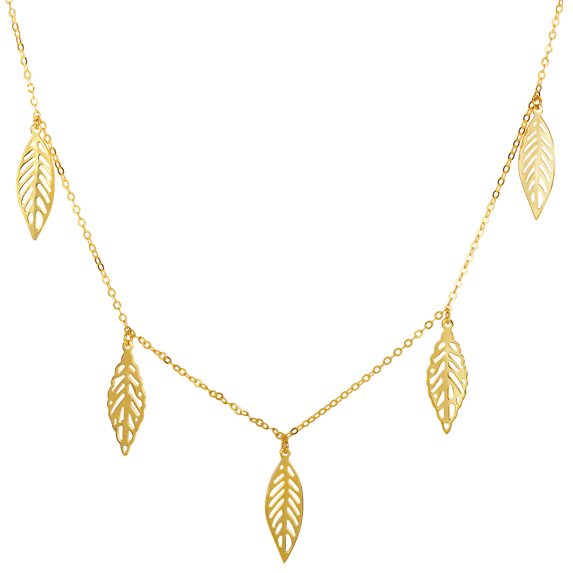 "14k Yellow Gold 5 Hanging Leaf Pendants On 18"" Necklace - Tanga"