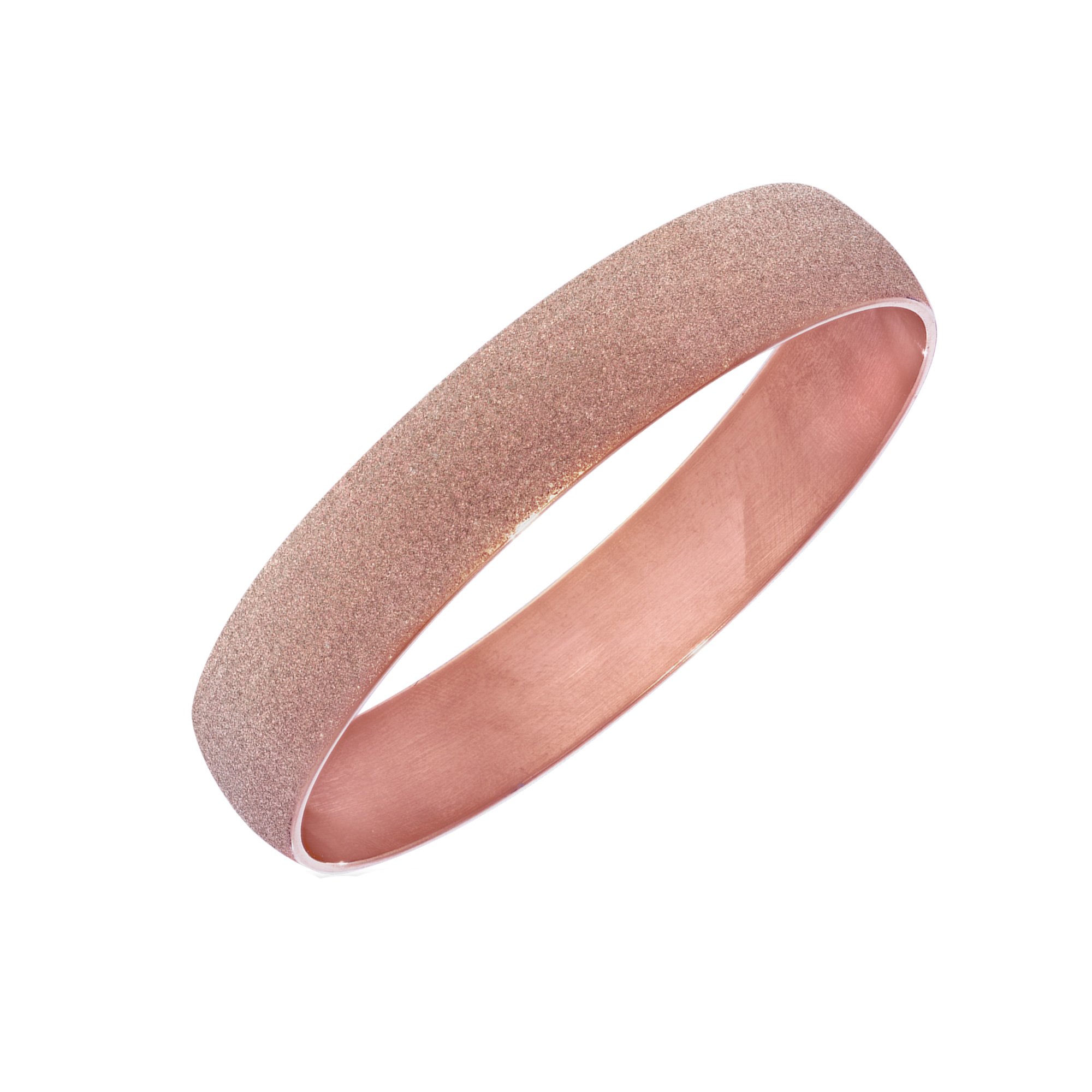 Rose Tone Stainless Steel With Rose Glitter Finish Bracelet Bangle