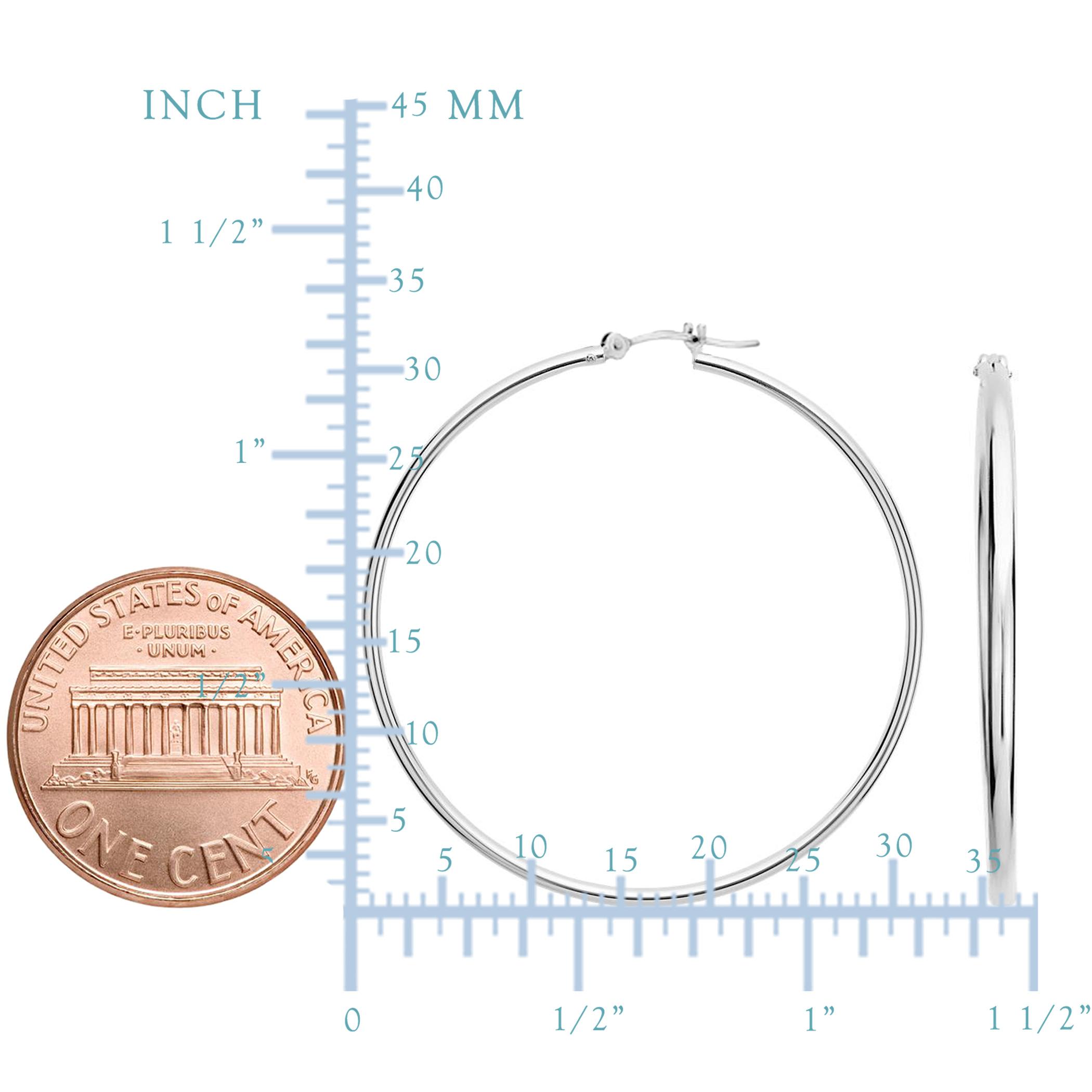 14k White Gold 1.5mm Shiny Round Tube Hoop Earrings