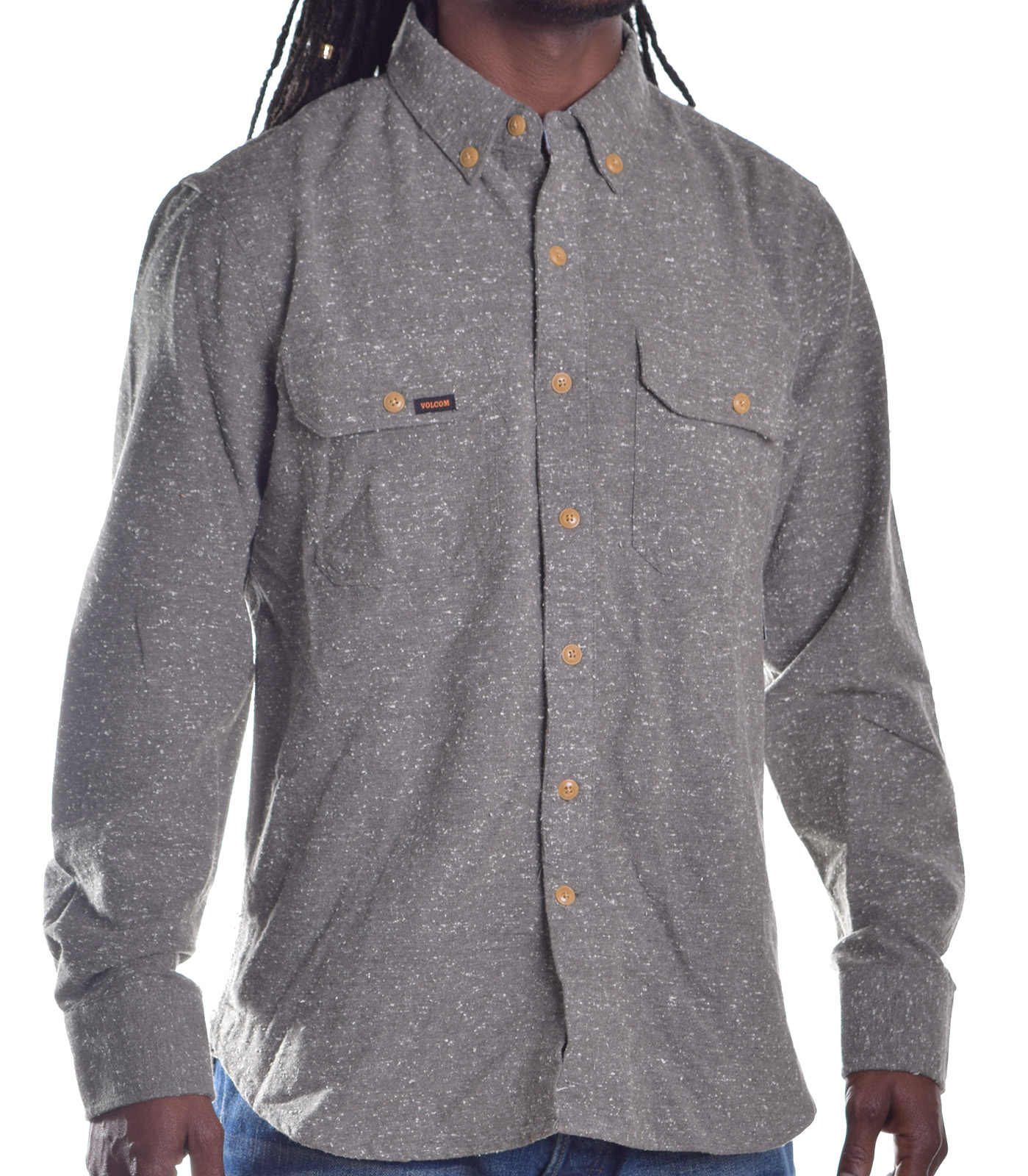 Volcom men 39 s comfort flannel button up shirt ebay for Button up flannel shirts