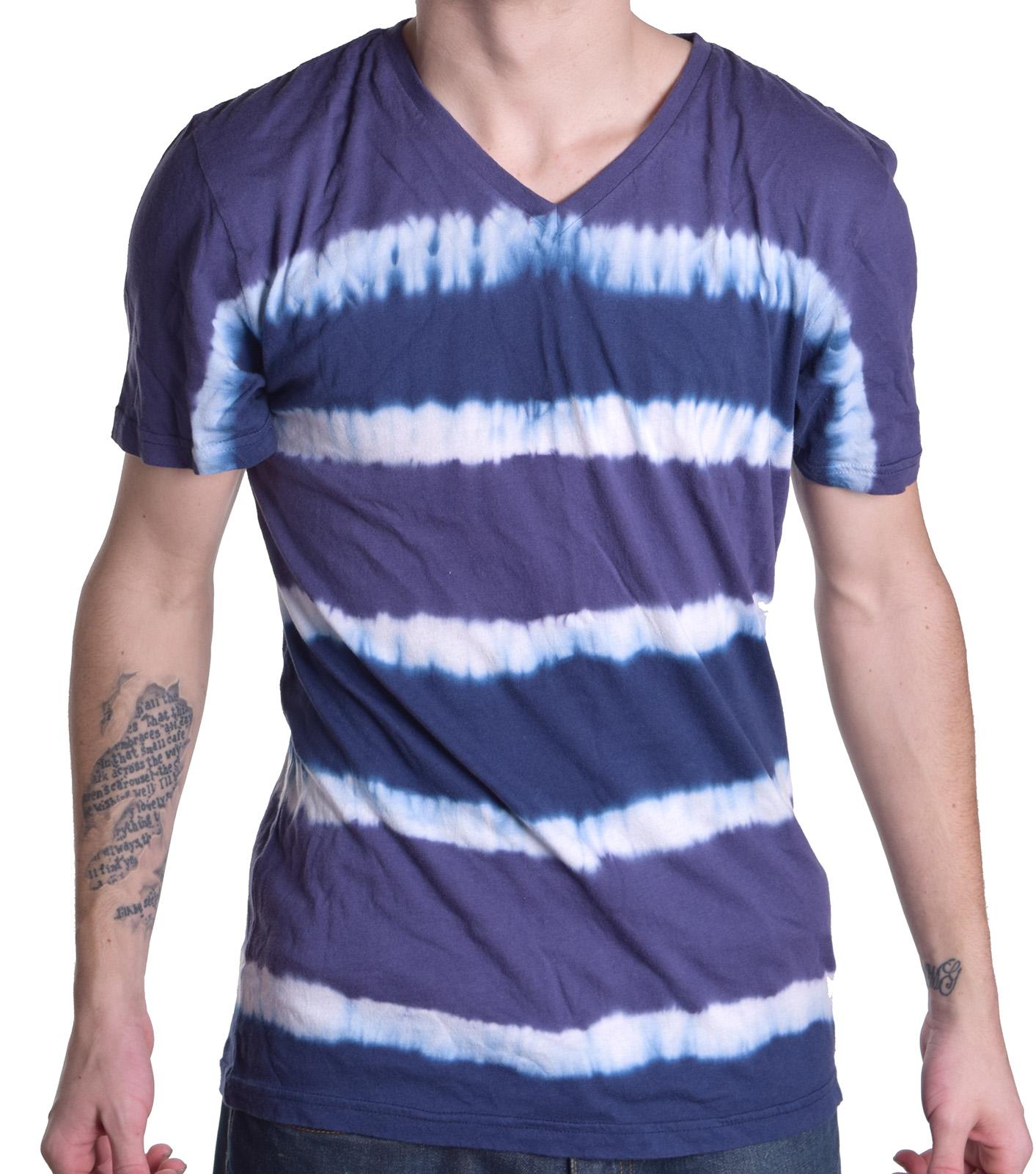 T4t men 39 s sustainable apparel tie dye stripe v neck tee for Tie dye mens t shirts
