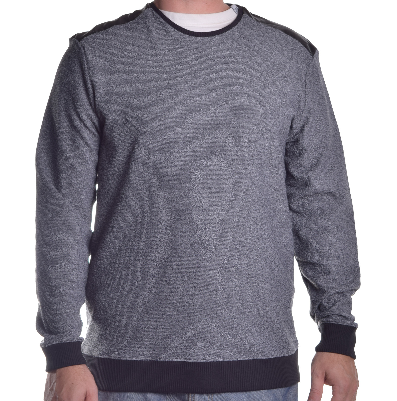 Pull Over Onto Shoulder : Calvin klein men s faux leather shoulder pull over sweater