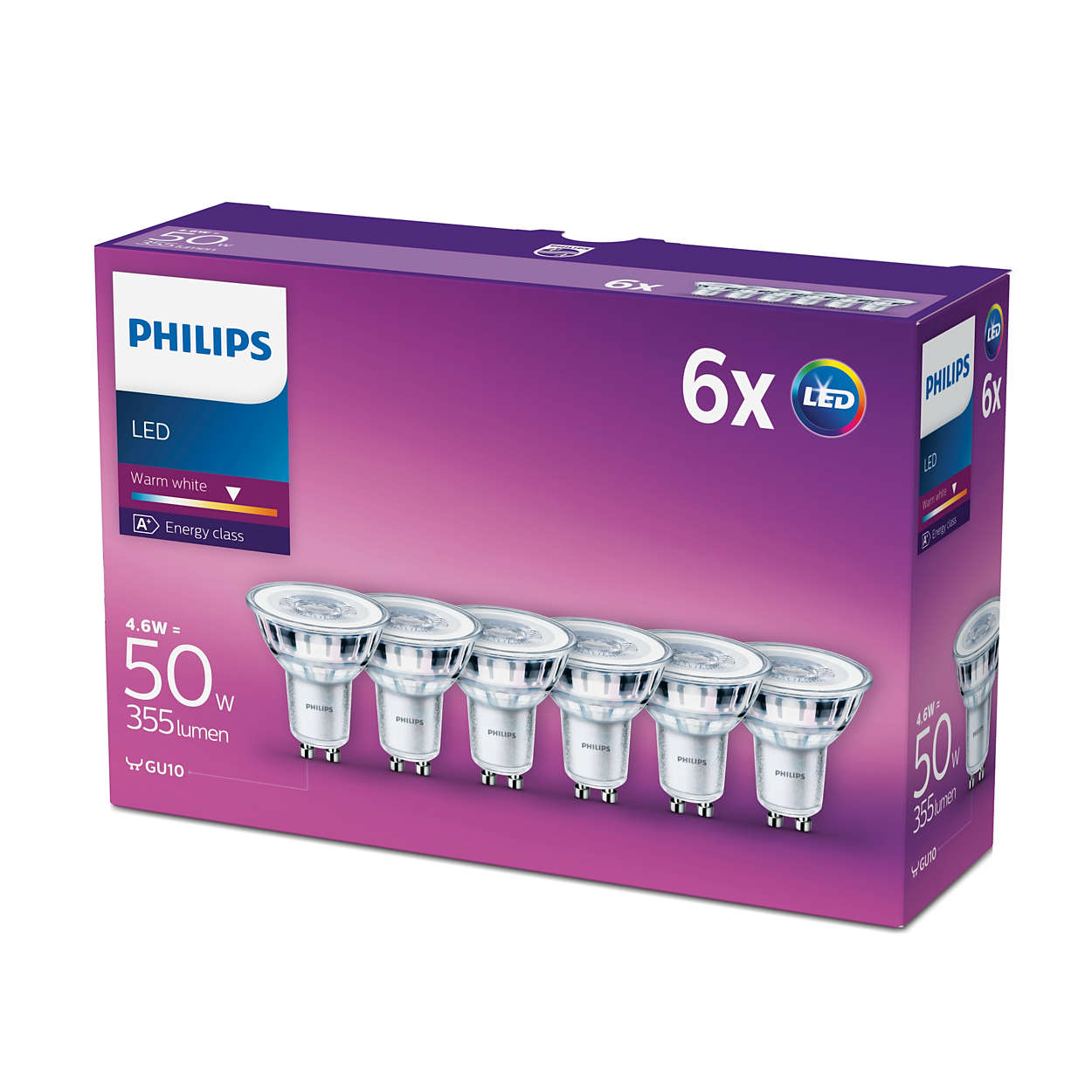 6 pk philips led glass gu10 50w a spot light bulb lamp 355lm warm white ebay. Black Bedroom Furniture Sets. Home Design Ideas