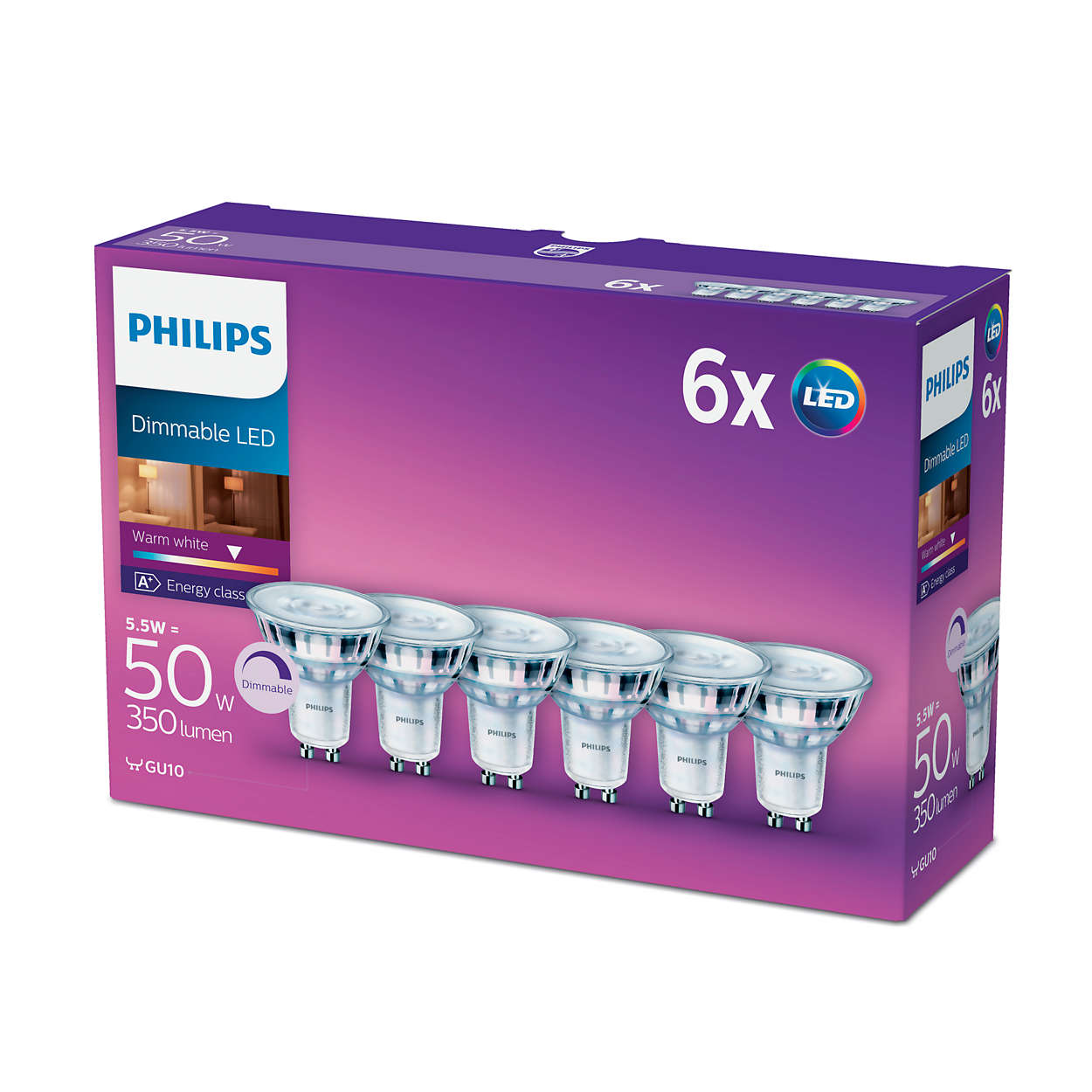 6pk philips led glass 50w a gu10 dimmable spot light bulb. Black Bedroom Furniture Sets. Home Design Ideas