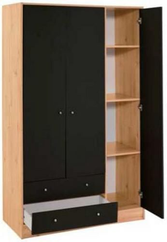Malibu wide 2 drawer 3 shelves 1 rail wooden wardrobe for 1 door wardrobe with shelves