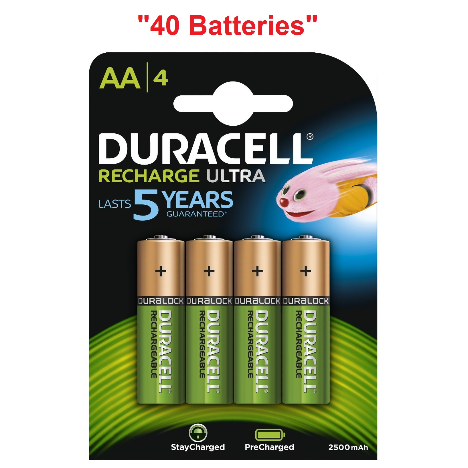 40x duracell ultra aa double a 2500mah rechargeable battery batteries 81535767 ebay. Black Bedroom Furniture Sets. Home Design Ideas