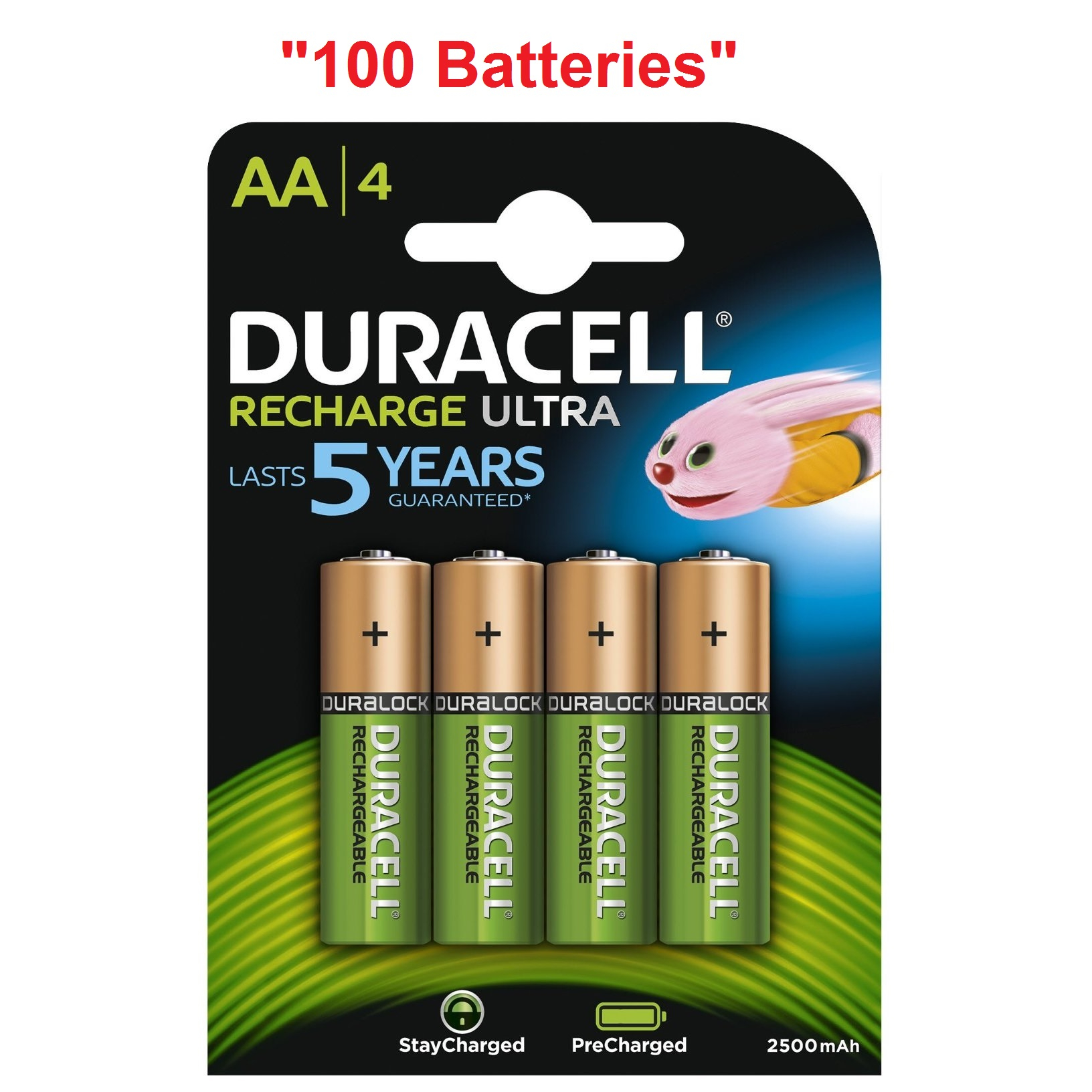 100x Duracell Ultra Aa Double A 2500mah Rechargeable